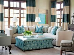 Love the beige and turquoise!