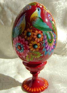 Ukrainian Wooden Egg Pysanka Stand Petrykivka