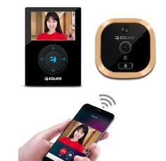 "WIFI VIDEO DOORBELL 2.8"" TF TEques R21 Digital peephole viewer visual cat eye doorbell hd door camera door camera motion detect +3600mAh li-batteries, 120 view angle, Application Android..."