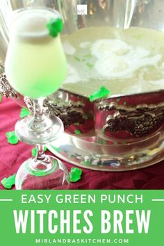 Witches Brew Punch is fun and not too spooky for Halloween with children. Don't skip the gummy frogs in this lovely lime and sherbet based easy green punch. They make it awesome! #punch #partydrink #easy #greenfood #halloween