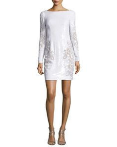 ZUHAIR MURAD Long-Sleeve Sequined Lace Cocktail Dress, White. #zuhairmurad #cloth #