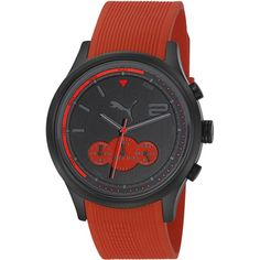 Puma Men's 'Motor' Red Rubber Strap Quartz Watch