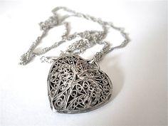 Vintage Sterling Silver Filigree Heart Locket by BlueLaceVintage, $45.00