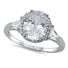A Classic 2.2CT Oval Cut Russian Lab Diamond Halo Engagement Ring with Baguettes