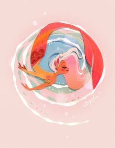 This little lady is happy to spend her days frolicking in the waves. And who wouldnt be with a fabulous fiery tale like that! This is a digital