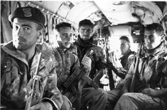 Marine Commandos aboard an H-34 helicopter in Algeria