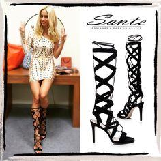 "Doukissa Nomikou (@dutchesss_) in SANTE Gladiator Sandals Collection #santeSS15 at ""Ola ANT1"" #SanteLovers Shop NOW: www.santeshoes.com"