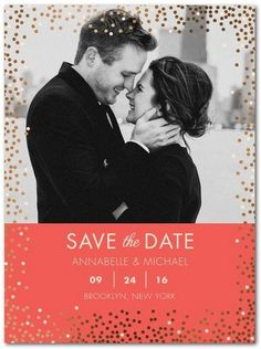 Sprinkle Polka Dot Bliss | Choose your favorite photo to share your date! Put a twist on your save the date cards with coasters, magnets, post cards, and luxe foil accents. Choosing the perfect trim and colors have never been so fun.