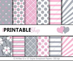 INSTANT DOWNLOAD  Pink & Gray Printable by YourPrintableShop
