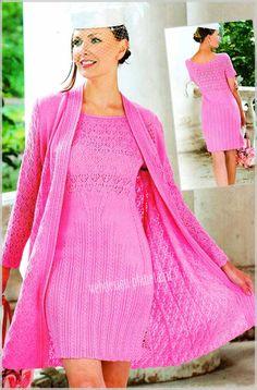 Очень женственный элегантный комплект из легкого пальто и платья спицами из розовой пряжи вызовет восхищение и восторг окружающих мужчин....Размер комплекта: 44-46 (Россия) или 38-40 (Европа)..Для вязания пальто и платья спицами нам требуется:...