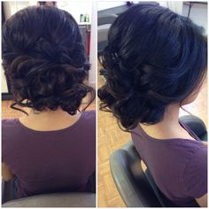 Bridal hair, wedding hair, updo, shoulder length updo, prom hair, low bun, curly bun, beautybyverlin