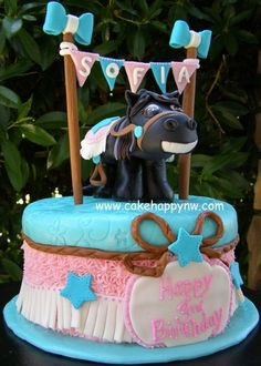 Horse themed cake for a girl's birthday!