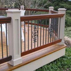 DecKorators Classic Round Aluminum Balusters in Bronze with matching optional DecKorators Classical Centerpieces for Round Balusters. Metal Deck Railing, Deck Balusters, Front Porch Railings, Balcony Railing Design, Patio Design, Iron Railings, Building A Porch, Diy Deck, Bedrooms