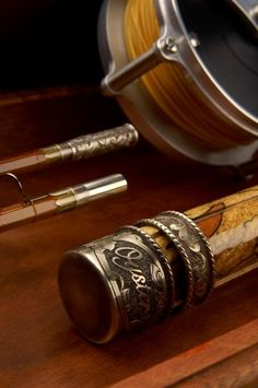 Oyster bamboo fly fishing rod and reel.