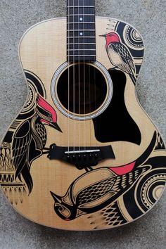 Musicals Instruments Tips Acoustic Guitar Art, Ukulele Art, Guitar Art Diy, Unique Guitars, Custom Guitars, Painted Ukulele, Painted Guitars, Cello, Guitar Inlay