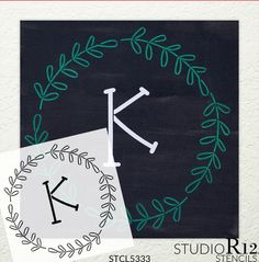 Simple Monogram Stencil with Wreath by StudioR12 | For DIY Painting