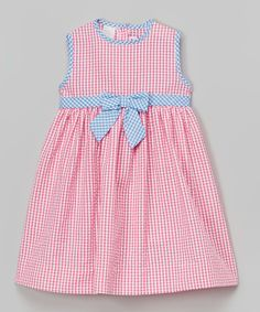 Look at this SIMI Pink Gingham Seersucker Dress - Infant, Toddler & Girls on #zulily today!