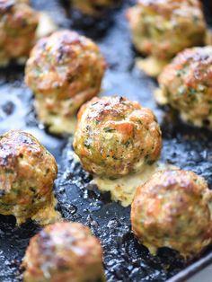 Baked Turkey Meatballs with Creamy Polenta and Marinara - foodiecrush