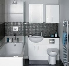 Great small bathroom renovation idea, would work for our bathroom