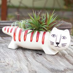Ceramic Cat Planter   Are you ready for Spring?  We are!  Shop our new garden collection! www.femailcreatio... #UniqueGifts #GiftsForWomen #Gifts #GiftsForAllOccassions #InspirationalGifts #Love #NewProducts #Deals #Garden #Spr