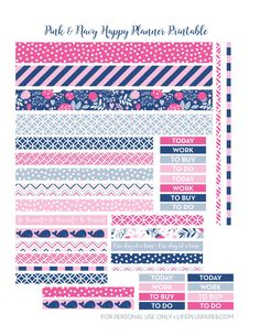 Pink and navy printable washi tape