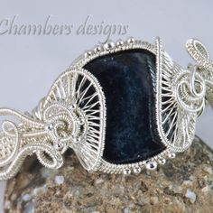 Sterling Silver Woven Wire Helix and Vivianite Bracelet
