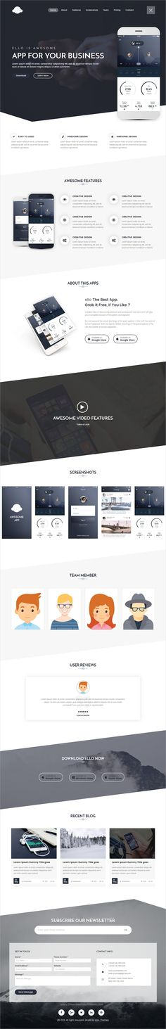 Buy ELLO - Multipurpose App Landing PSD Template by Marvel_Theme on ThemeForest. Ello – Multipurpose App Landing PSD Template is a modern, unique and clean design for your Business Purpose. Website Layout, Web Layout, Layout Design, Creative Web Design, Web Ui Design, Flyer Design, Design Design, Graphic Design, App Landing Page