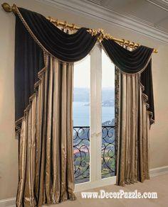 french curtains ideas, modern luxury curtains black scarf