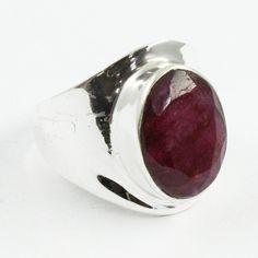 Ruby Agate Stone Designer 925 Sterling Silver Ring by JaipurSilverIndia on Etsy