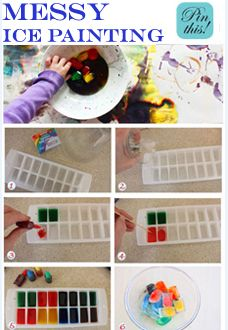 Make these oh-so-cool ice paints and inspire fun and messy art. soo much fun kids get senory cold, melting and so much more from this:)