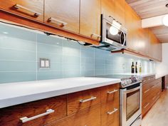 Kitchen backsplash and bathroom tile ideas with blue glass subway tile Vapor