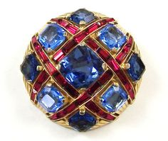 MB BOUCHER Light & Dark Sapphire Crystals, Ruby Red Baguettes 'Checkerboard' Pin & Clip Earrings Set