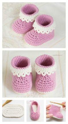 Modelo de Pink Lady botines del bebé libre de ganchillo
