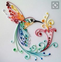 """Quilling Art: """"Bird of Happiness"""" Colourful Paper Art, Wall Art and Deco from BestQuillings on Etsy. Quilled Paper Art, Paper Quilling Designs, Quilling Paper Craft, Paper Crafting, Quilling Images, Arte Quilling, Quilling Work, Diy And Crafts, Arts And Crafts"""