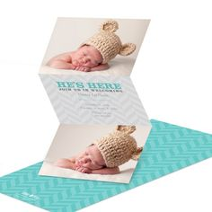 He's here! Your baby boy has finally arrived, so share the joyous news with charming style. These trifold adoption announcements have spots for two favorite photos, and open accordion-style to reveal the important details on the center panel against a soft gray chevron pattern.