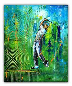 BURGSTALLER ORIGINALGolf Gemälde Bild Golfer Golfspieler Malerei Turnierpreis 61