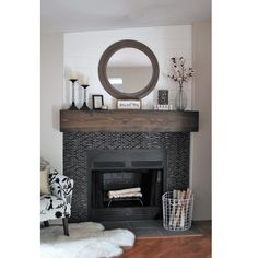 From Cluttered to Classy – A Rustic Glam Fireplace Makeover / Decorating Mantl. - From Cluttered to Classy – A Rustic Glam Fireplace Makeover / Decorating Mantle / See the stunnin - Farmhouse Fireplace, Fireplace Remodel, Fireplace Mantle, Living Room With Fireplace, Fireplace Design, Fireplace Ideas, Modern Fireplaces, Black Brick Fireplace, Rustic Farmhouse