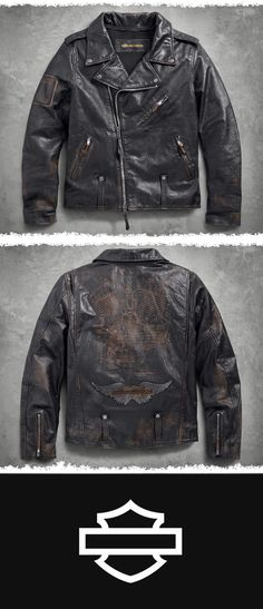 The iconic Biker Jacket silhouette, seen in countless archived images, spawned this re-creation.| Harley-Davidson Men's Master Distressed Slim Fit Leather Biker Jacket