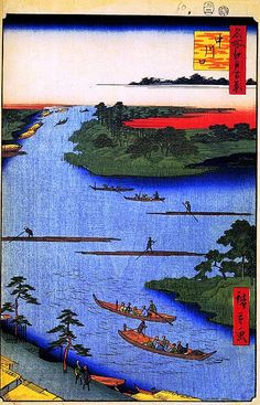 <名所江戸百景 中川口 : NAKAKAWAGUCHI> MOUTH OF THE NAKA RIVER HIROSHIGE UTAGAWA 1797-1858 Last of Edo Period