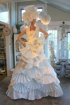 beautiful paper gown and head piece