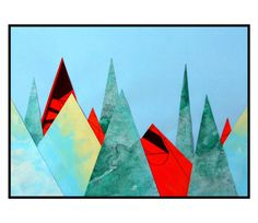 Mountain Landscape Collage Abstract Painting by 7RayedDesigns