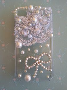 Beautiful Lace and Pearl iPhone 4 Case on Etsy