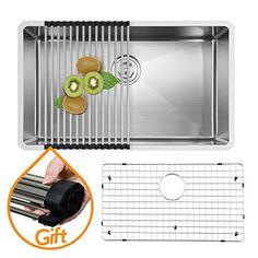 VAPSINT® Commercial 30 Inch 18 Gauge 10 Inch Deep Farmhouse Apron Undermount Single Bowl Stainless Steel Kitchen Sink, Sink Including Dish Drying Rack and Dish Grid VAPSINT http://www.amazon.com/dp/B00SZKR7XA/ref=cm_sw_r_pi_dp_tBw9wb0EPMFYT