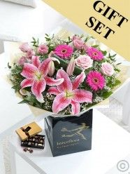Pink Radiance Hand-Tied & Chocolates