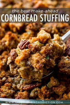 Here's how to prepare Thanksgiving side dish cornbread stuffing ahead of time! The most flavorful blend of ingredients and herbs. Recipe on sallysbakingaddic. Stuffing Recipes For Thanksgiving, Thanksgiving Side Dishes, Thanksgiving 2017, Fall Recipes, Holiday Recipes, Holiday Meals, Soup Recipes, Cornbread Stuffing, Corn Bread Stuffing Recipes