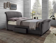 Birlea Barcelona Fabric Storage Bed Frame In Grey From 349 Beds Pertaining To Popular Property Grey King Bed Decor Grey Bed Frame, King Size Bed Frame, Bed Frames, Contemporary Homes, Bed Furniture, Furniture Design, Grey Upholstered Bed, Bed Frame With Storage