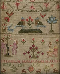 18th Century 1781 Adam and Eve Antique Needlework Sampler  Excellent condition and highly decorated colorful motifs