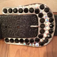 """New S/M black leather ABS belt w/opalescent & black rhinestoned silver buckle. Dazzling! Embossed pattern in black leather belt approx. 37"""" long. Buckle is 3.5"""" high x 4.5"""" wide.  Lives in smoke/pet free home. Thanks for looking! $65 #belt #bling #accessories #diva #beauty #style #411 http://poshmark.com/listing/4fb8494f7aea0b3e21010e1f"""