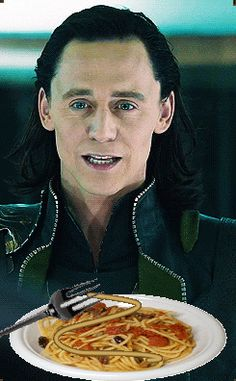 (gif) Loki loves pasta, almost as much as I love dorky fan stuffs.