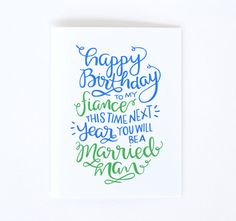 Fiance Birthday Card - Little Print Design                                                                                                                                                      More